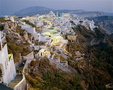 simsearch:600-00052306,k - Town at Dusk, Thira, Santorini, Greece Stock Photo - Premium Royalty-Free, Code: 600-00007982