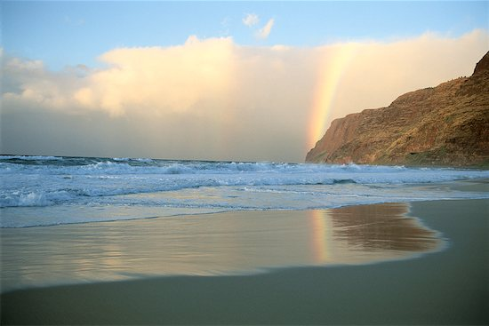 Free Images Of Rainbows. Rainbow over Polihale Beach,