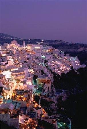 simsearch:600-00052306,k - Cityscape at Night, Thira, Santorini, Greece Stock Photo - Premium Royalty-Free, Code: 600-00026377