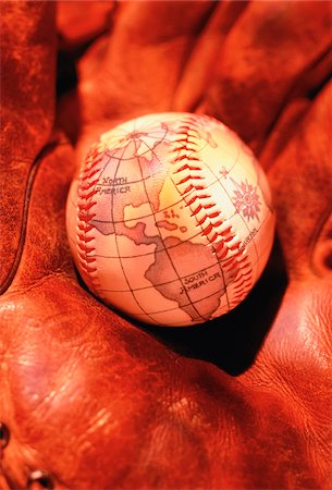 Baseball Globe in Glove North and South America Stock Photo - Premium Royalty-Free, Code: 600-00028347