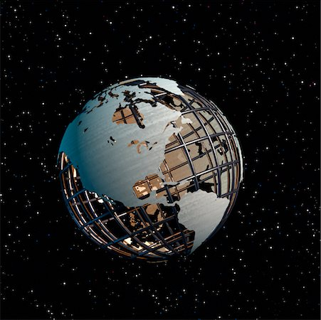 Wire Globe in Starry Sky North America Stock Photo - Premium Royalty-Free, Code: 600-00023876