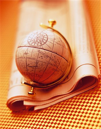 Antique Globe and Stock Listings Stock Photo - Premium Royalty-Free, Code: 600-00044100