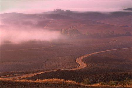 road landscape - Fog over Tuscany Landscape Near Pienza, Tuscany, Italy Stock Photo - Premium Royalty-Free, Code: 600-00041916