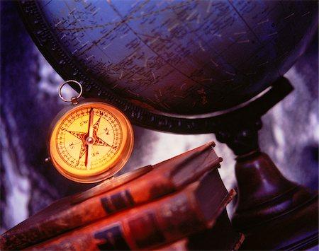 Globe, Books and Compass Stock Photo - Premium Royalty-Free, Code: 600-00042442
