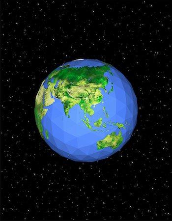Geodesic Globe in Space, Pacific Rim Stock Photo - Premium Royalty-Free, Code: 600-00059274