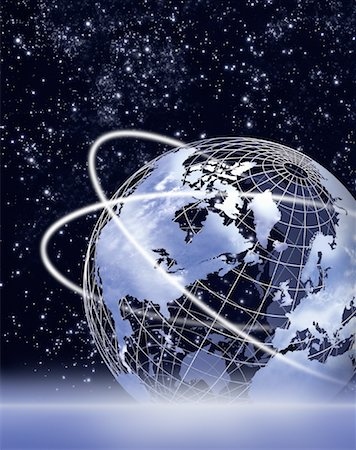 Wire Globe with Rings in Space, North America Stock Photo - Premium Royalty-Free, Code: 600-00059402