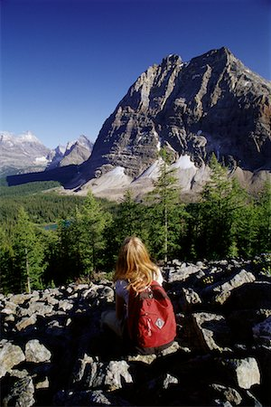 simsearch:600-00846421,k - Back View of Girl Sitting at Yoho National Park, BC, Canada Stock Photo - Premium Royalty-Free, Code: 600-00067198