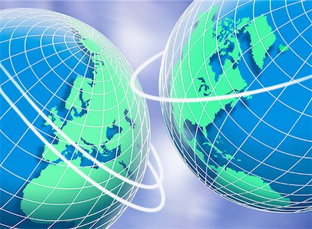 Two Globes with Rings and Sky Stock Photo - Premium Royalty-Free, Code: 600-00068695