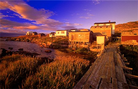 Overview of Landscape and Houses, Battle Harbour, Newfoundland and Labrador, Canada Stock Photo - Premium Royalty-Free, Code: 600-00061203