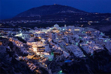 simsearch:600-00052306,k - Town at Dusk, Thira, Santorini, Greece Stock Photo - Premium Royalty-Free, Code: 600-00076589