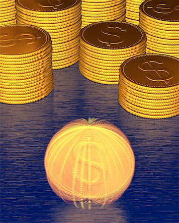 Stacks of Coins and Spinning Coin With Dollar Signs Stock Photo - Premium Royalty-Free, Code: 600-00077456