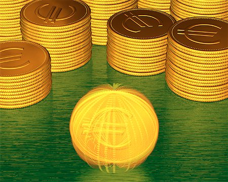 Stacks of Coins and Spinning Coin With Euro Symbols Stock Photo - Premium Royalty-Free, Code: 600-00077457