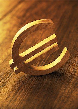 Wooden Euro Symbol Stock Photo - Premium Royalty-Free, Code: 600-00077466