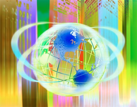 Wire Globe and Abstract Landscape, North America Stock Photo - Premium Royalty-Free, Code: 600-00070882