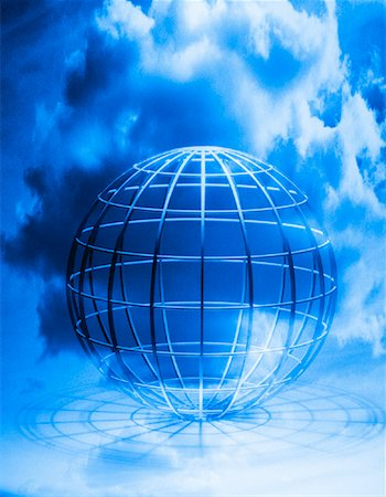 Wire Globe and Clouds Stock Photo - Premium Royalty-Free, Code: 600-00072805
