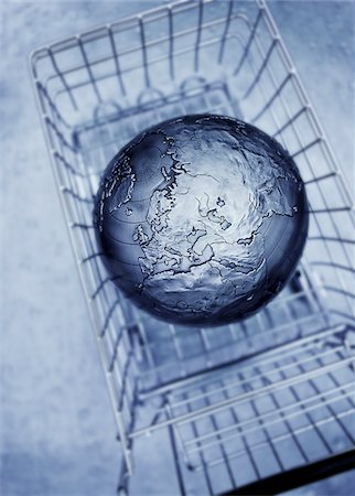 Globe in Shopping Cart Stock Photo - Premium Royalty-Free, Code: 600-00088244