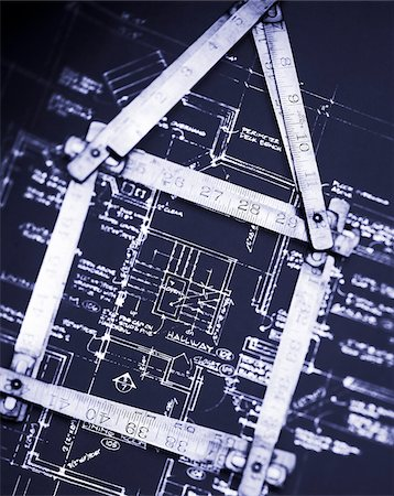 Ruler on House Blueprints Stock Photo - Premium Royalty-Free, Code: 600-00151988