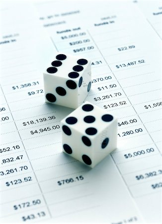Dice and Financial Listings Stock Photo - Premium Royalty-Free, Code: 600-00367742