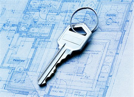 Close-Up of Key and Blueprint Stock Photo - Premium Royalty-Free, Code: 600-00476865