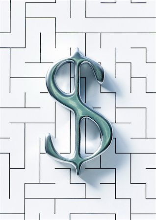 Dollar Sign and Maze Stock Photo - Premium Royalty-Free, Code: 600-00476874