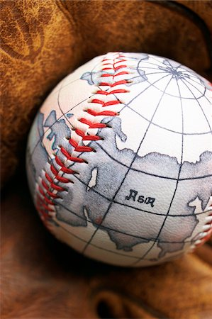 Baseball With World Map Stock Photo - Premium Royalty-Free, Code: 600-00550396