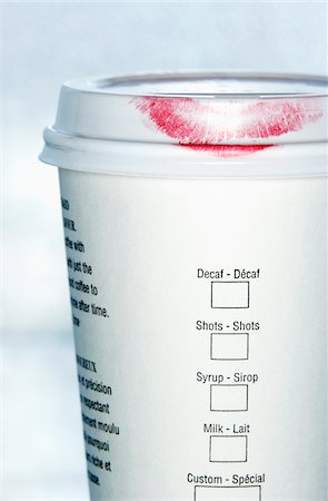 Lipstick on Coffee Cup Stock Photo - Premium Royalty-Free, Code: 600-00551144