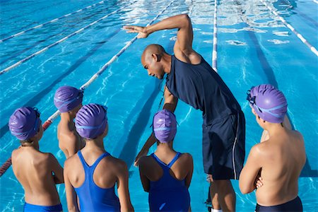 Coach and Students by Swimming Pool Stock Photo - Premium Royalty-Free, Code: 600-00814575