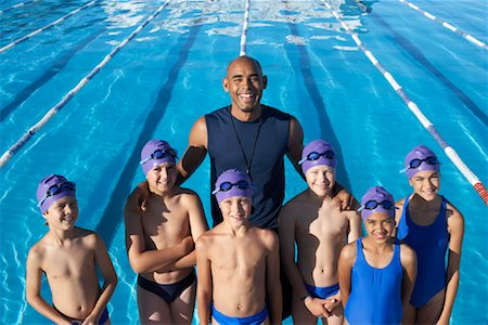 Coach and Students by Swimming Pool Stock Photo - Premium Royalty-Free, Code: 600-00814571