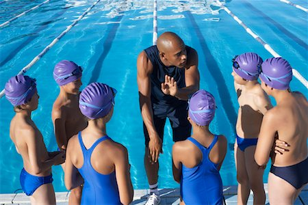 Coach and Students by Swimming Pool Stock Photo - Premium Royalty-Free, Code: 600-00814572