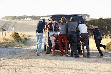 stalled car - People Pushing Stalled Van Stock Photo - Premium Royalty-Free, Code: 600-00848515
