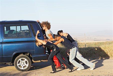stalled car - People Pushing Stalled Van Stock Photo - Premium Royalty-Free, Code: 600-00848517