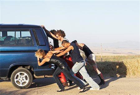 stalled car - People Pushing Stalled Van Stock Photo - Premium Royalty-Free, Code: 600-00848518