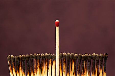 One Unlit Match Among Row of Burnt Matches Stock Photo - Premium Royalty-Free, Code: 600-00866719