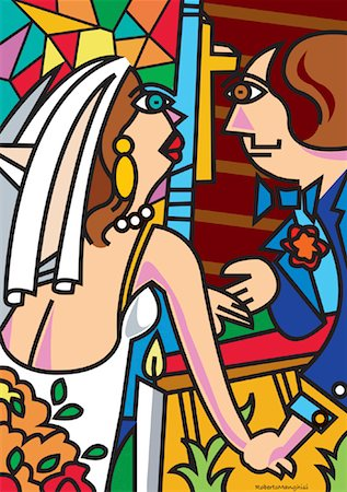 Illustration of Bride and Groom Stock Photo - Premium Royalty-Free, Code: 600-00917547