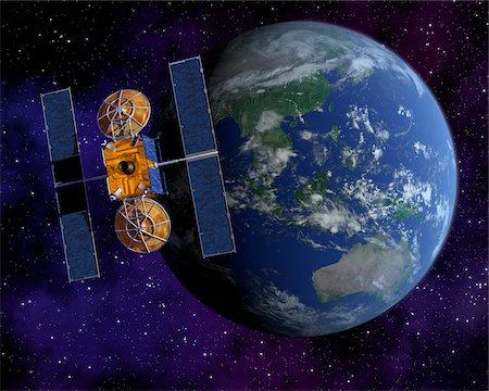 Communication Satellite Above Earth Stock Photo - Premium Royalty-Free, Code: 600-00911130