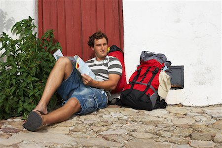 Backpacker Relaxing, Spain Stock Photo - Premium Royalty-Free, Code: 600-01015451