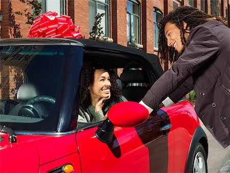 Man Giving Woman New Car Stock Photo - Premium Royalty-Free, Code: 600-01164723