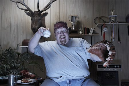 fat man balls - Man Watching Baseball Game on Television Stock Photo - Premium Royalty-Free, Code: 600-01163909