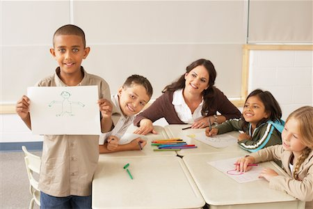 simsearch:600-01184690,k - Students and Teacher with Drawings in Classroom Stock Photo - Premium Royalty-Free, Code: 600-01184735