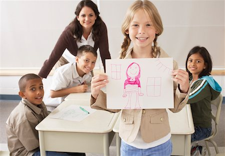 simsearch:600-01184690,k - Students and Teacher Drawing in Classroom Stock Photo - Premium Royalty-Free, Code: 600-01184748