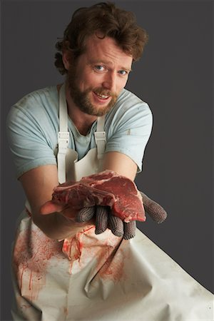 dripping blood - Portrait of Butcher with Meat Stock Photo - Premium Royalty-Free, Code: 600-01199058