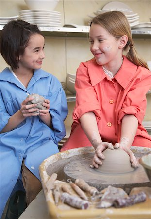 Girls at Potter's Wheel Stock Photo - Premium Royalty-Free, Code: 600-01200422