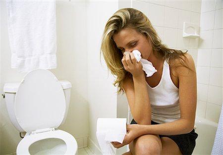 Sick Woman in Bathroom Stock Photo - Premium Royalty-Free, Code: 600-01234906