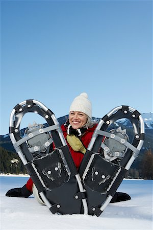 simsearch:600-00846421,k - Woman Snowshoeing Stock Photo - Premium Royalty-Free, Code: 600-01235214