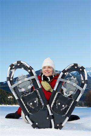 simsearch:600-00846421,k - Woman Snowshoeing Stock Photo - Premium Royalty-Free, Code: 600-01235213
