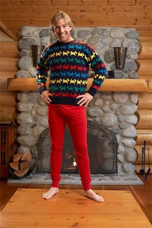 sweater and fireplace - Portrait of Man Stock Photo - Premium Royalty-Free, Code: 600-01235301