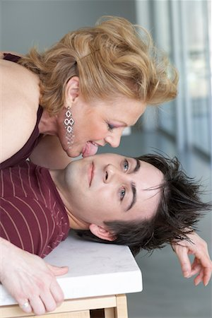 sexually aroused woman - Woman Licking Man's Face Stock Photo - Premium Royalty-Free, Code: 600-01604071
