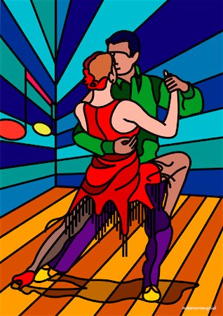 Illustration of Couple Tango Dancing Stock Photo - Premium Royalty-Free, Code: 600-01607194