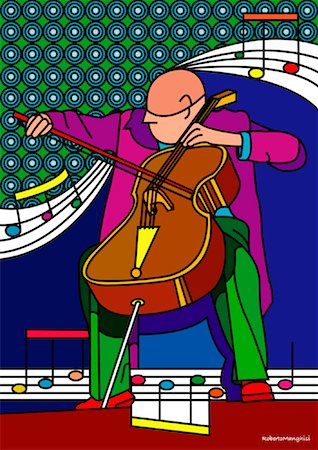Illustration of Cellist Stock Photo - Premium Royalty-Free, Code: 600-01607196