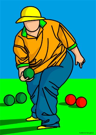 fat man balls - Illustration of Person Playing Bocce Stock Photo - Premium Royalty-Free, Code: 600-01607227